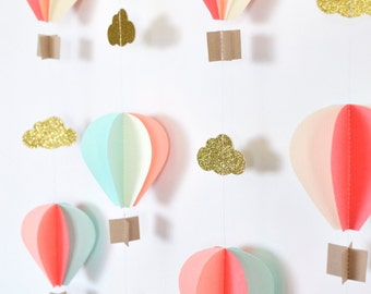 Multiple Strands Hot Air Balloon Garland, Up Up and Away, Coral Mint Peach Ivory Gold Birthday Party Decor, Nursery Decor, Photo prop