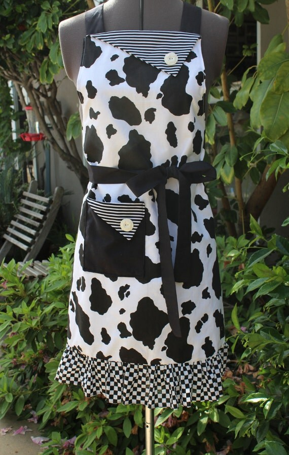 Cow Print Full Apron Black And White Cow Print Gift For Her