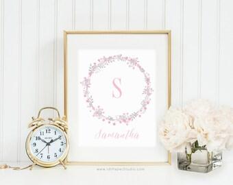 Custom Print, Monogram Print, Grey Pink Wreath, Floral Monogram, Kids Room Decor, Printable Wall Art, Gift Ideas, Cadre, Nursery Wall Art