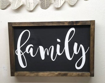 Framed Wood Family Sign - Painted Wood Sign with Frame - Wall Decor for Living Room Area - Family Room Wall Hanging - Framed Home Decor
