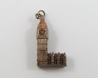 Big Ben Clock Tower in London England Sterling Silver Charm or Pendant.