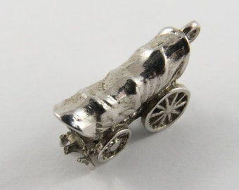 Covered Wagon Sterling Silver Charm or Pendant.