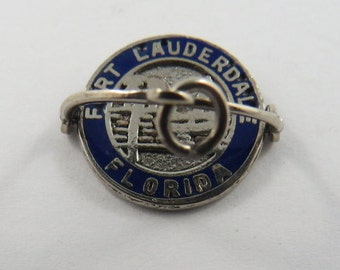 Enameled Mechanical Flipper Fort Lauderdale Florida Sterling Silver Charm or Pendant.
