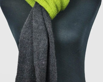 Men's knit scarf. Grey and Olive green hand knit scarf. Long scarf.Wool scarf. Handmade merino wool scarf, knitted mens scarf, winter scarf