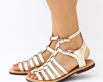 Gladiator Leather Sandals with double strap and gold color, many straps sandals, Women Greek leather sandals