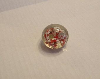 Glass Paperweight, Vintage Glass Dome Paper Weight, Dome Paperweight, Desk Accessory, Office gift, Clear Glass with red and white flowers