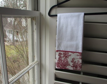 Dish Towel | Microfiber | Red Toile Towel with Red Trim