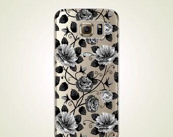 Black Rose Floral TPU Soft case Samsung Galaxy S4 case, S5 case, S6 case, Rose S6 edge case, Note 3 case, Note 5 case, S6 plus edge case