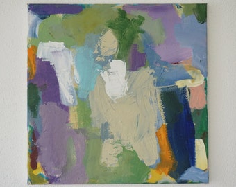 Original abstract art, modern painting, acrylic contemporary painting, wallart, green, lilac, purple, white, grey, square, acrylic original