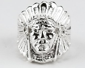 Native American Indian Chief Ring in 925 Silver | Tribal Jewelry | Statement Ring