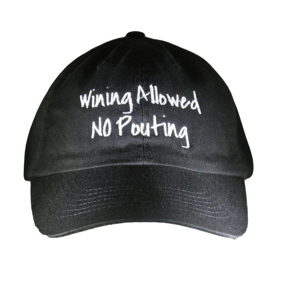 Wining Allowed No Pouting - Polo Style Ball Cap (Black with White Stitching)