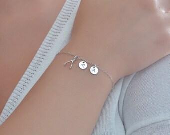 Personalized Bracelet Silver, Wishbone charm bracelet, Personalized initial bracelet, Wishbone bracelet, Monogram bracelet, Wishbone pendant