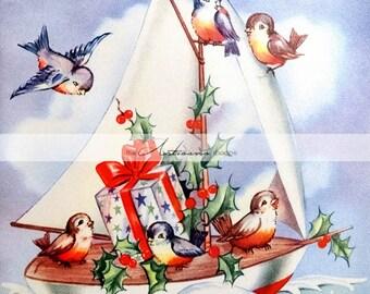 Vintage Sailing Birds Christmas Card Image - Instant Art Printable Download - Scrapbooking Paper Crafts Altered Art - Blue Birds Sail Boat