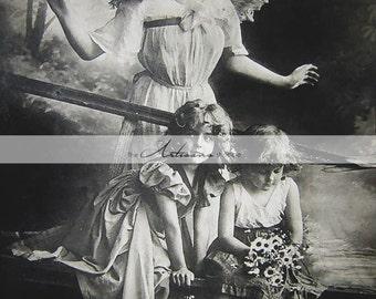 Digital Download Printable - Antique Guardian Angel with Children on Bridge Photograph - Paper Crafts Scrapbook Altered Art - Angel Art