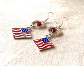 Patriotic Earrings, military gifts 4th of July earrings fourth of July jewelry red white and blue jewelry American flag earrings dangle drop
