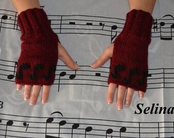 Knit Music Notes Fingerless Gloves Burgundy Mittens Hand Wrist Warmers