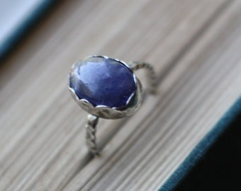 SALE: Tanzanite Ring  // Sterling Silver & Turquoise // Simple // Handmade