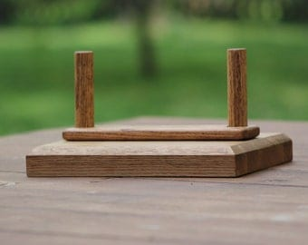 Solid red oak wooden napkin holder