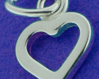 One small sterling silver open heart charm, 9 mm