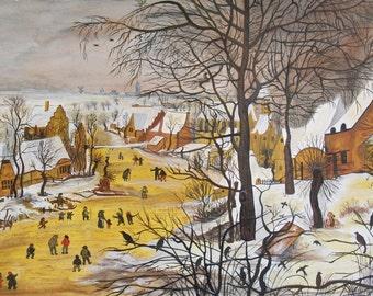 Naive Scandinavian Townscape -Snow/Winter scene - Original Painting - Original watercolour painting - bodycolour - acrylic