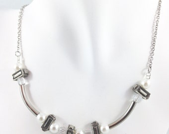 Necklace pewter and clear crystals with white pearls with tubes and stainless steel chain.