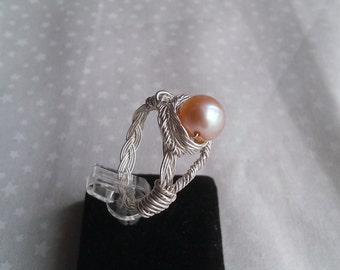sterling silver ring , freshwater pearl ring , wire wrapped ring , sterling silver handmade ring