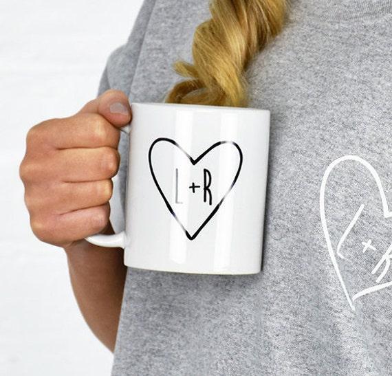 Couples Heart Initial Mug