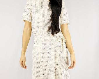 80s Japanese White Summer Spring Dress/ Silky Soft Crinkled Fabric/ Dotted Pop Artsy Print Pleated Skirt/ Short Sleeve Day Midi Dress XS
