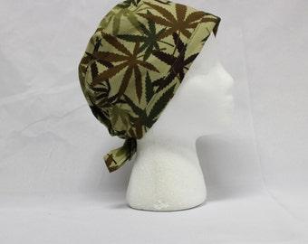 Green Camo Pot Leaves Surgical Scrub Cap Chemo Dental Hat