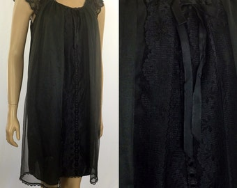 Vintage 1970s Black Chiffon Nightgown  Small 70s Babydoll Gown Movie Star 70s Frothy Chiffon Double Nylon Negligee w/ Lace USA Night gown