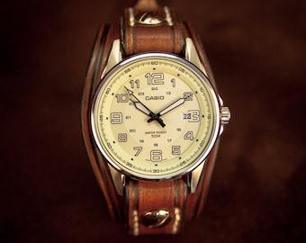 Watch leather cuff dark Brown leather watch handmade by Bandit