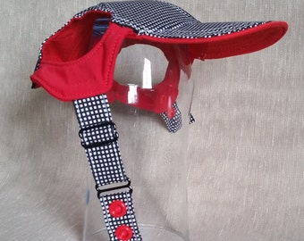 Red Accents Dog Hat. Checkered Light Cotton Mix Fabric. Custom Made Pet Hats- Please Send ABCD Measures With Your Order. Lady Bug Optional.