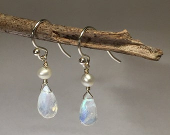 Moonstone and Freshwater Pearl Earrings on Sterling Silver Earwires