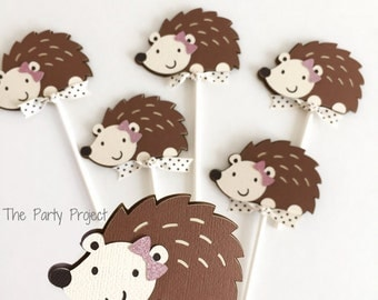 Free Shipping- 12 Hedgehog Cupcake Toppers | Little Hedgehog theme baby shower | Forest animal cupcake picks | Woodland birthday party decor