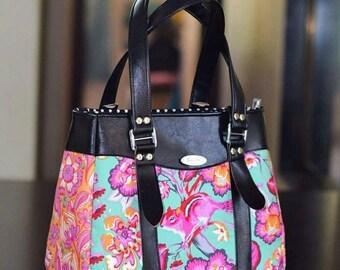 Tula pink chipper Handbag Black leather purse Bagstock Evelyn handbag Womens gift Womens purse Handmade Bag  Gift for her