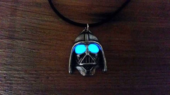 Glow in the Dark Helmet Wars Necklace, Glowing Necklace, Unisex, Glowing Star Eyes, Gift for Him, Unique Men's Gift