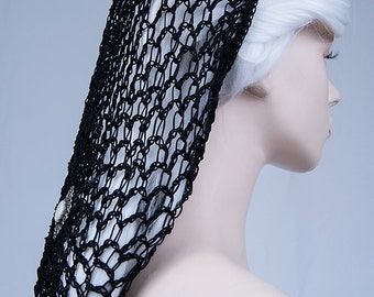Black net medieval headdress-victorian headdress-gothic headpiece-victoria headpiece-medieval headpiece