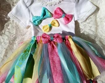 fabric tutu with matching oneise
