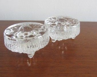 TAPIO WIRKKALA - Littala Glass, Ultima Thule line, Pair of Candle Holders - Made in Finland - 1960s