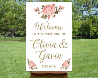 PRINTABLE Large Wedding Welcome Sign, Personalized Wedding Sign, Reception Entrance Sign, Floral Pink Peony Sign, Bridal Shower DIGITAL FILE