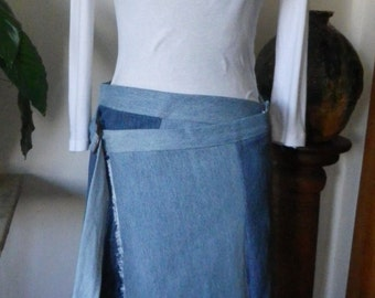 Frayed hem multi-denim wrap skirt