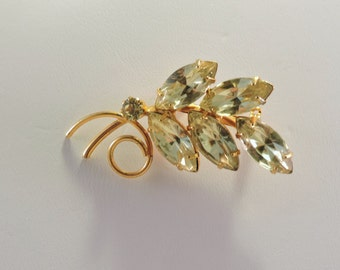 Vintage Gold Tone Leaf Brooch with Light Green Rhinestones
