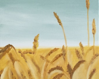 Wheat Field Painting, 11 x 14, Original Oil Painting, Landscape Painting, Country Art