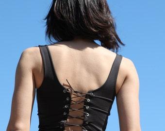 Vintage brown short top,open back.one-size