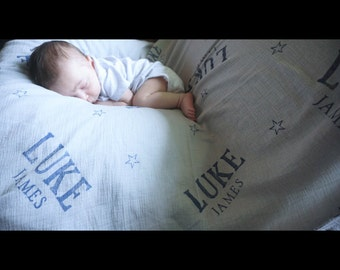 47x47 Hand stamped cotton muslin wrap swaddling blanket- customizable with name personalized baby blanket nursing cover car seat cover