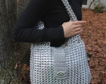 Recycled Soda Tab Silver Shoulder Bag