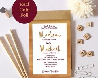 Burgundy and Foil Wedding Invite Deposit