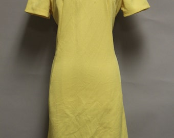 Vintage Day Dress Size L Yellow Short Sleeve Knee Length 1980s