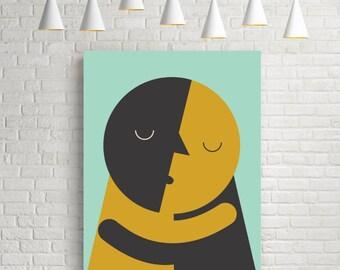 Kiss, Love poster, love print, love art, love wall art, romantic art, Valentines gift, present, wedding print, wedding present, art prints
