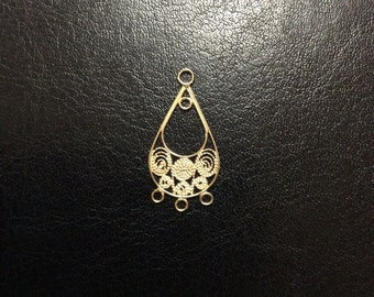 Gold Vermeil Filigree Spiral Teardrop with 4 loops, Finding, 26x13mm, Two pieces
